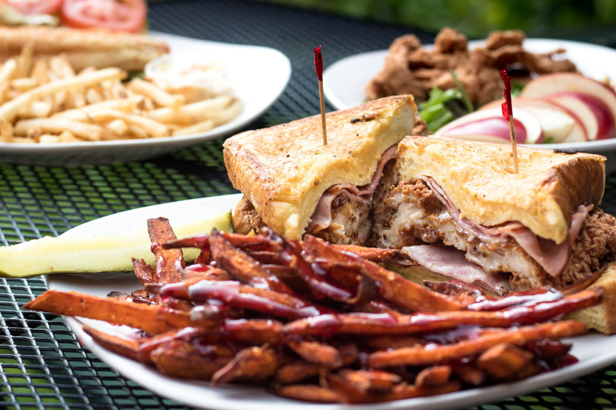 food photography of a sandwich and french fries