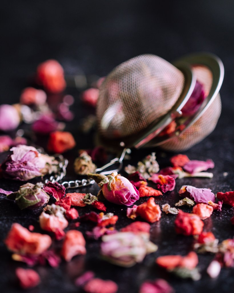 Bird and Blend Tea Co Berry Pink Rose Tea. Tea photography shot by AM Knizek Photo